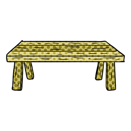A cartoon wooden table isolated on white background  イラスト・ベクター素材