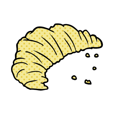 A cartoon croissant isolated on white background
