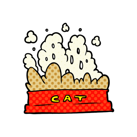 A cartoon bowl of cat food isolated on white background Illustration