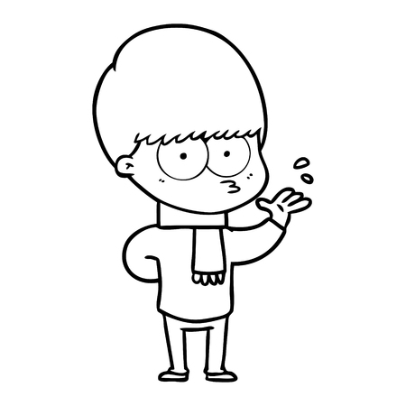 A nervous cartoon boy isolated on white background