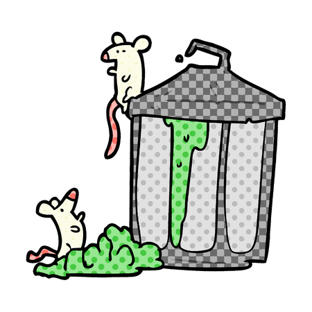 A cartoon old metal garbage can with mice isolated on white background