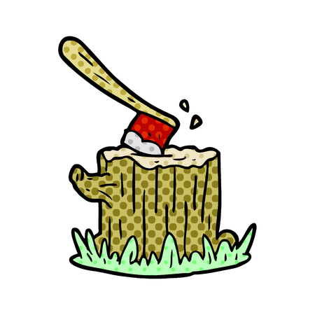 A cartoon ax stuck in tree stump isolated on white background
