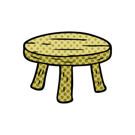 A cartoon small wooden stool isolated on white background
