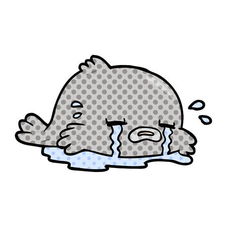 A cartoon crying fish isolated on white background Illusztráció