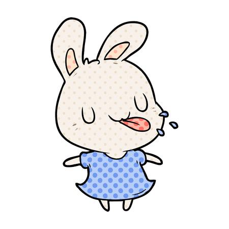 흰색 배경에 고립 된 라즈베리를 불고 귀여운 만화 토끼 스톡 콘텐츠 - 95655004