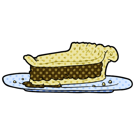 A cartoon meat pie isolated on white background