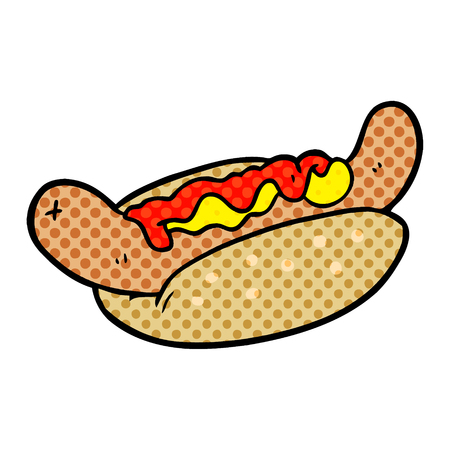 A cartoon fresh tasty hot dog isolated on white background