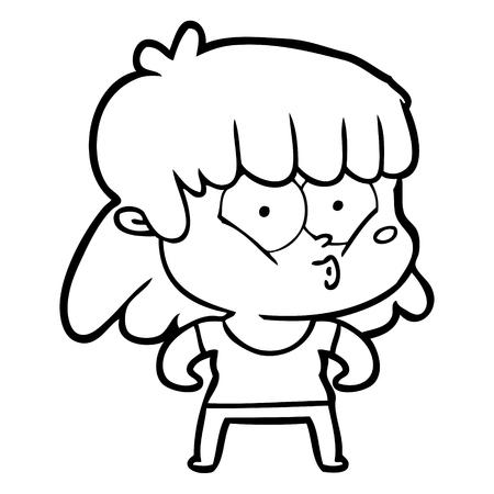 cartoon whistling girl Stock fotó - 95669586