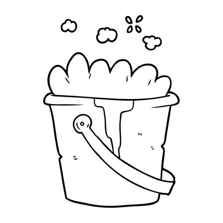 cartoon bucket of soapy water