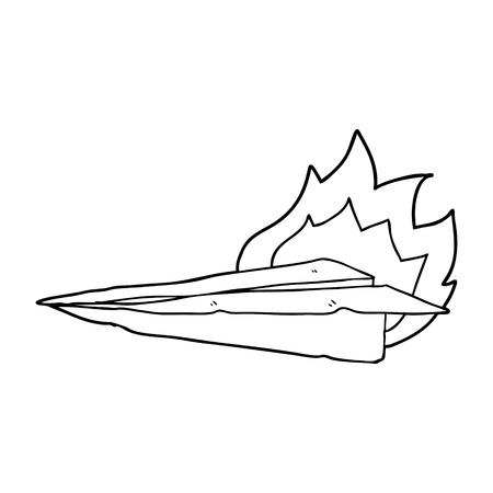 cartoon burning paper airplane Foto de archivo - 95669739