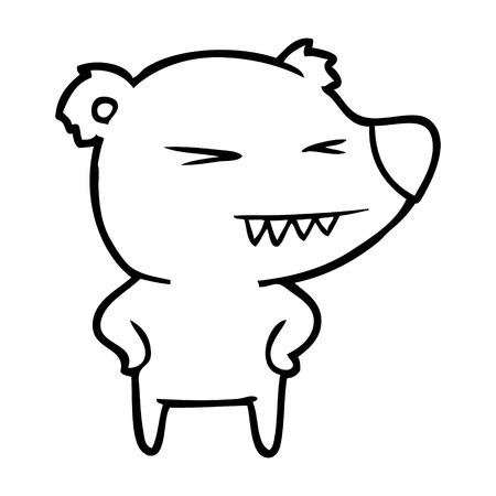 angry bear cartoon with hands on hips