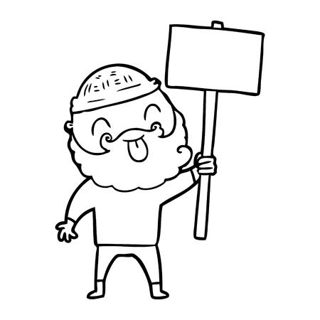 bearded protester cartoon Illustration