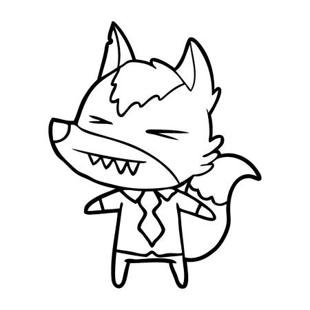 angry wolf boss cartoon
