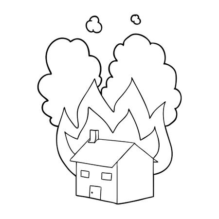 cartoon burning house