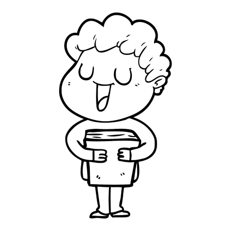 laughing cartoon man with book