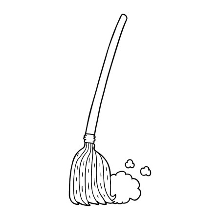 cartoon broom sweeping