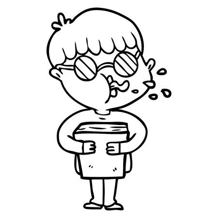 Cartoon boy wearing spectacles Illustration
