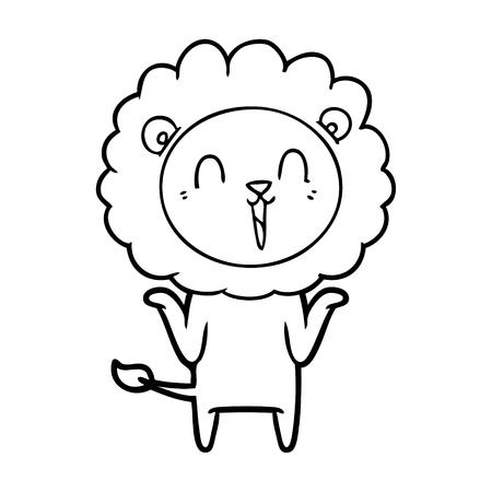 Laughing lion cartoon shrugging shoulders Ilustração
