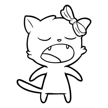 cartoon meowing cat vector illustration. Stock fotó - 95641547