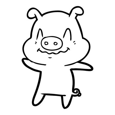 nervous cartoon pig vector illustration.