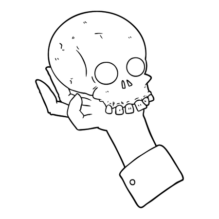 cartoon hand holding skull vector illustration.