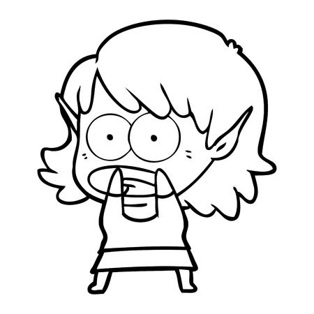 cartoon shocked elf girl vector illustration. Illusztráció