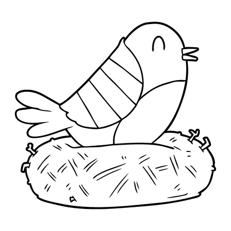 cartoon bird sitting on nest vector illustration. Illustration