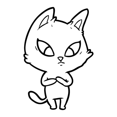 confused cartoon cat vector illustration. Иллюстрация