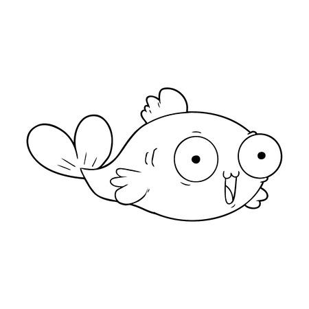 happy goldfish cartoon vector illustration.