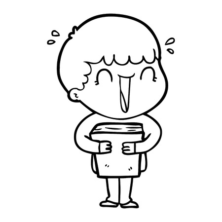 laughing cartoon man holding book vector illustration. Illustration
