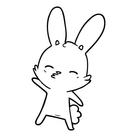 curious bunny cartoon vector illustration. Ilustração