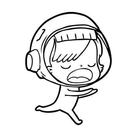 Cartoon astronaut woman running illustration on white background.