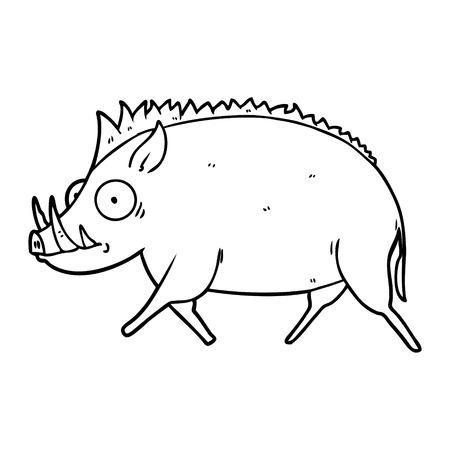 Hand drawn cartoon wild boar Illustration