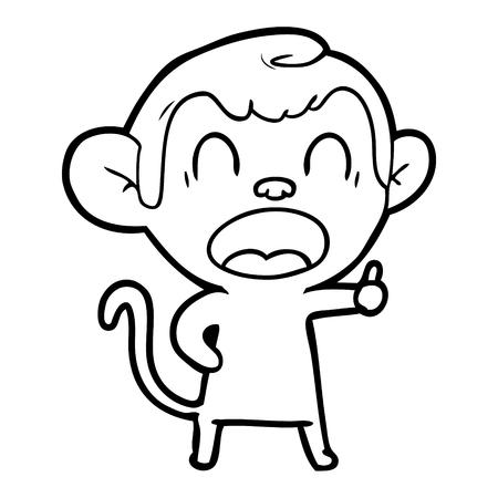 Hand drawn yawning cartoon monkey Illustration