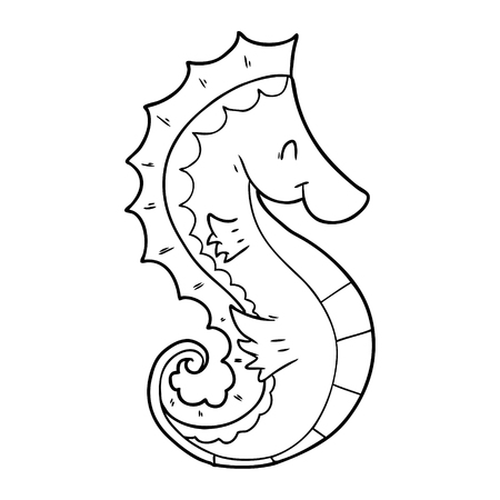 Hand drawn cartoon sea horse
