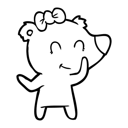 Hand drawn female polar bear cartoon Archivio Fotografico - 95836602