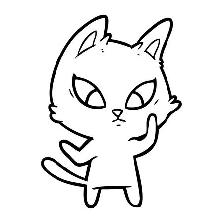 confused cartoon cat Иллюстрация
