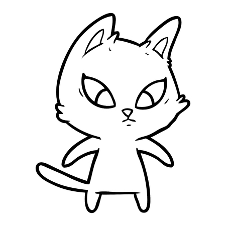 confused cartoon cat Illustration