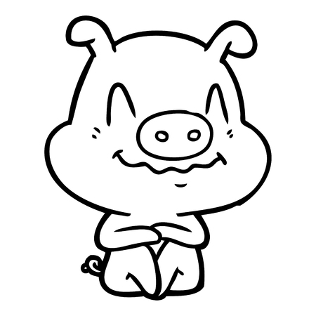 Hand drawn nervous cartoon pig sitting Ilustração