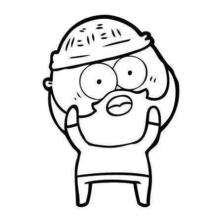 Hand drawn cartoon bearded man 일러스트