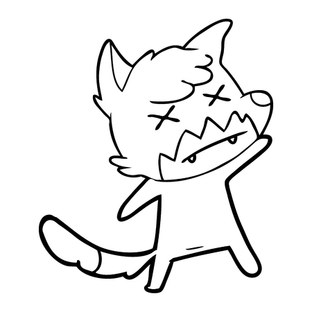 Hand drawn cartoon cross eyed fox