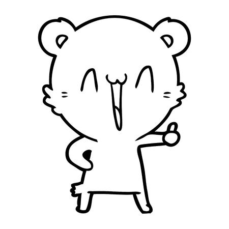 Hand drawn happy bear cartoon