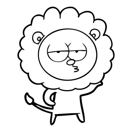 Hand drawn cartoon bored lion Illusztráció