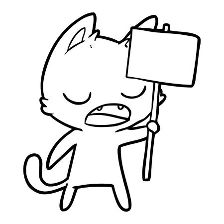 Hand drawn talking cat cartoon with placard Illustration