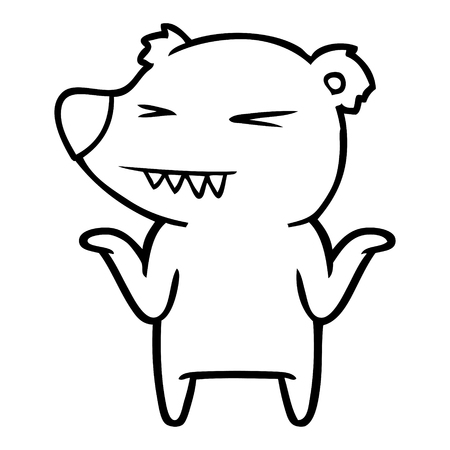 Hand drawn angry polar bear cartoon shrugging shoulders Illustration