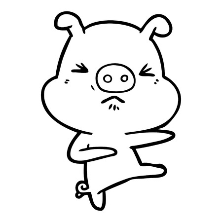 cartoon angry pig kicking out