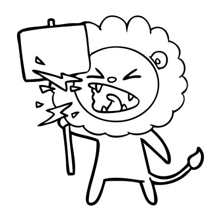 Hand drawn cartoon roaring lion protester