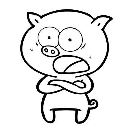 手描き漫画の豚の叫び声  イラスト・ベクター素材