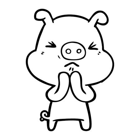 Hand drawn cartoon grumpy pig