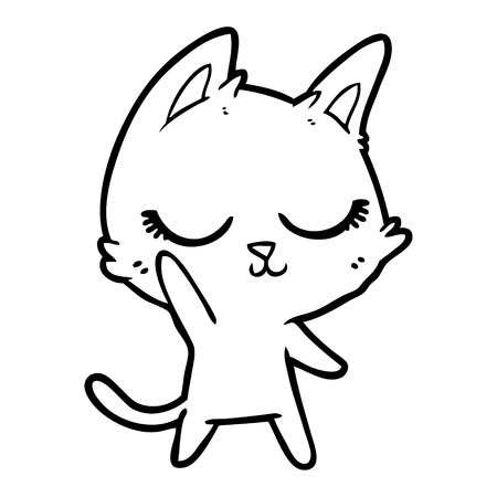 Hand drawn calm cartoon cat 版權商用圖片 - 95760689